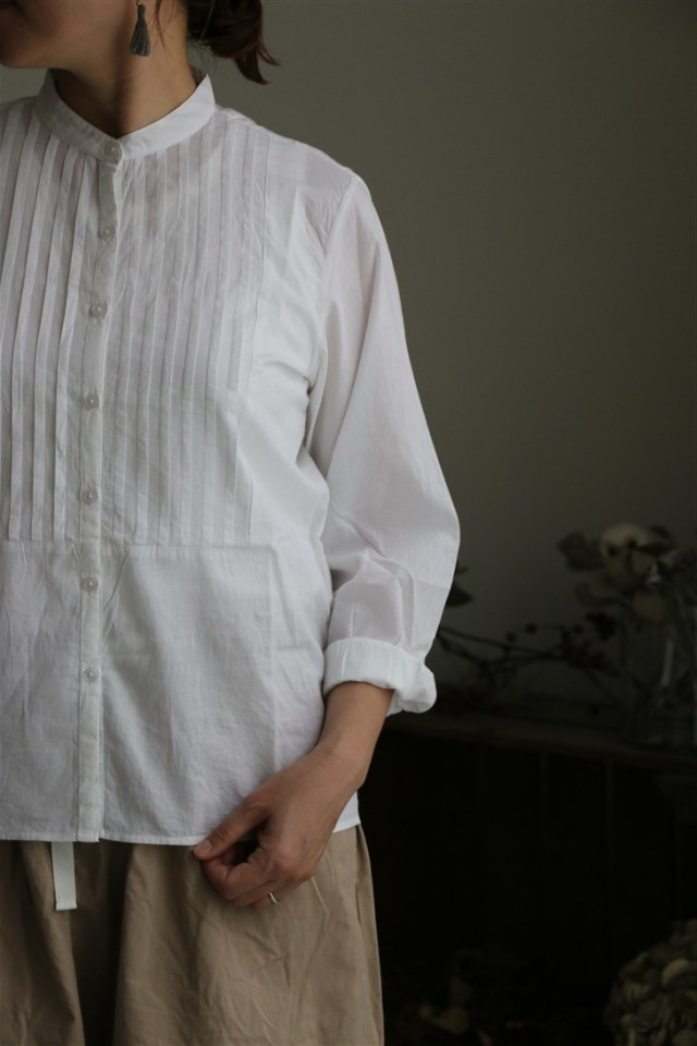 NSL18541 soil 60'S COTTON CAMBRIC PINTUCK SHIRT WHITE