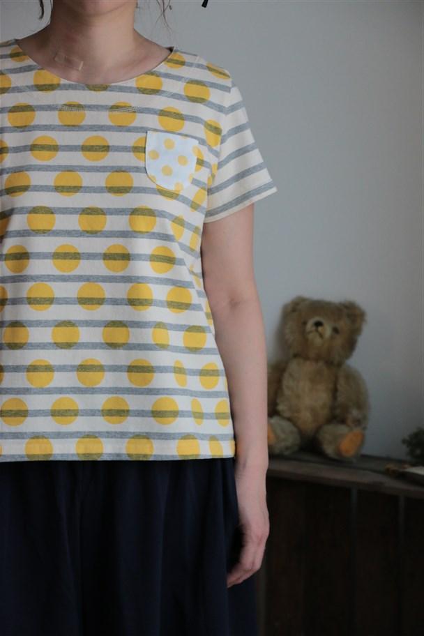 72C-40 快晴堂 真夏のボーダー&ドット フレンチTシャツ 4色