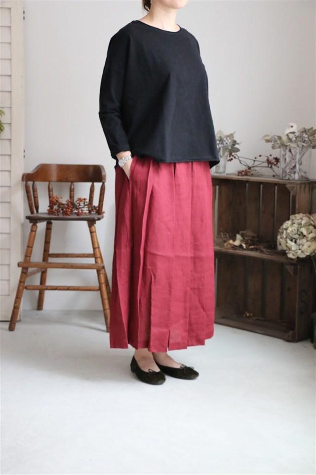 LWA019 fog linen work ステーシー ギャザースカート 2色