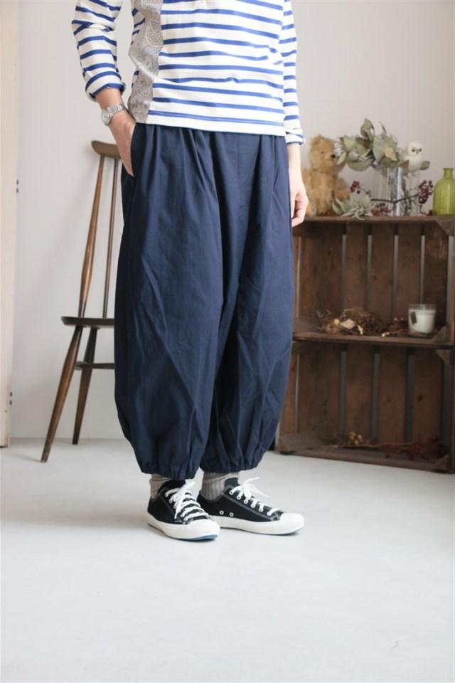 <SALE>70802 prit 16/1コットンナイロンバックサテン裾ゴムバルーンパンツ
