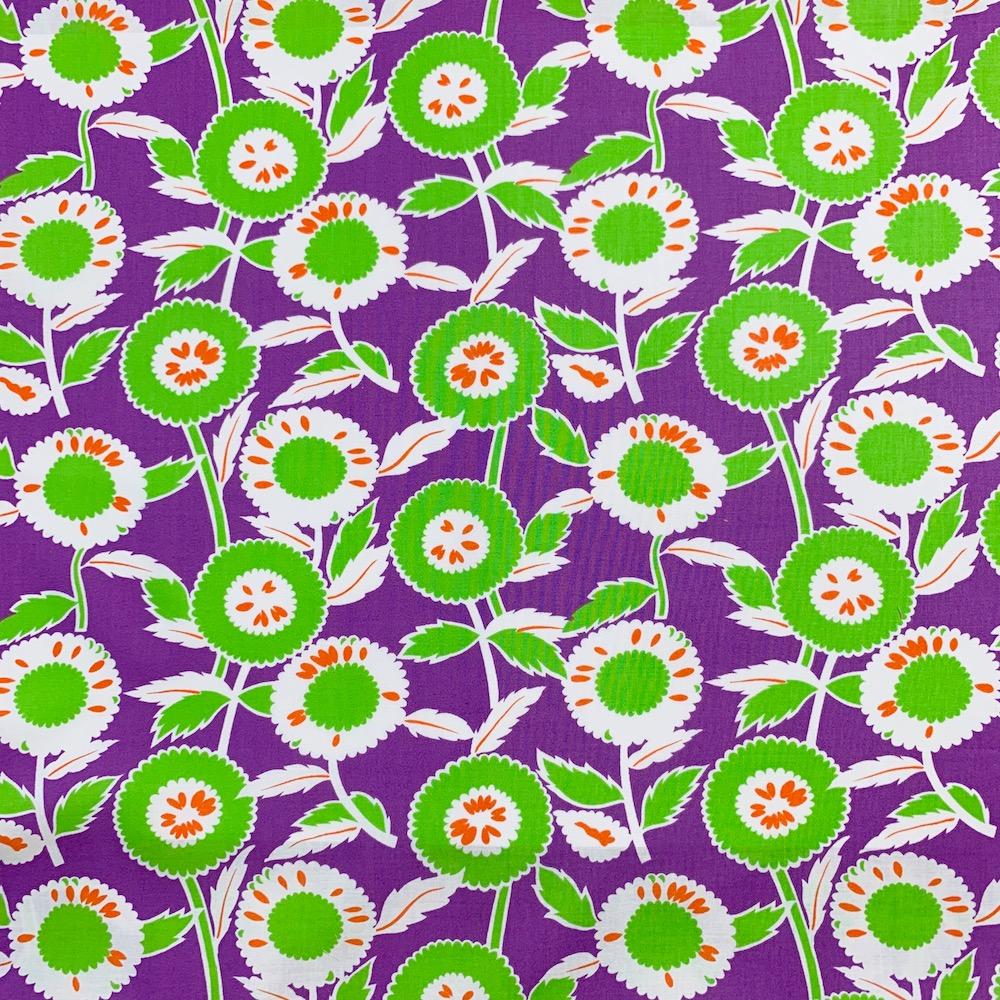 【国産デザインプリント】 JOT-186  パープル・グリーン系  ひまわり  花柄生地