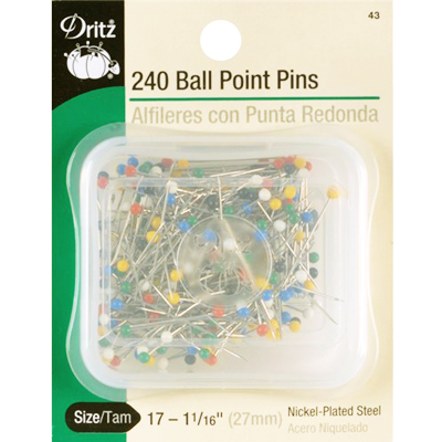 【Dritz】240 Ball Point Pins ボールポイントピン -まち針- (NOT-099)