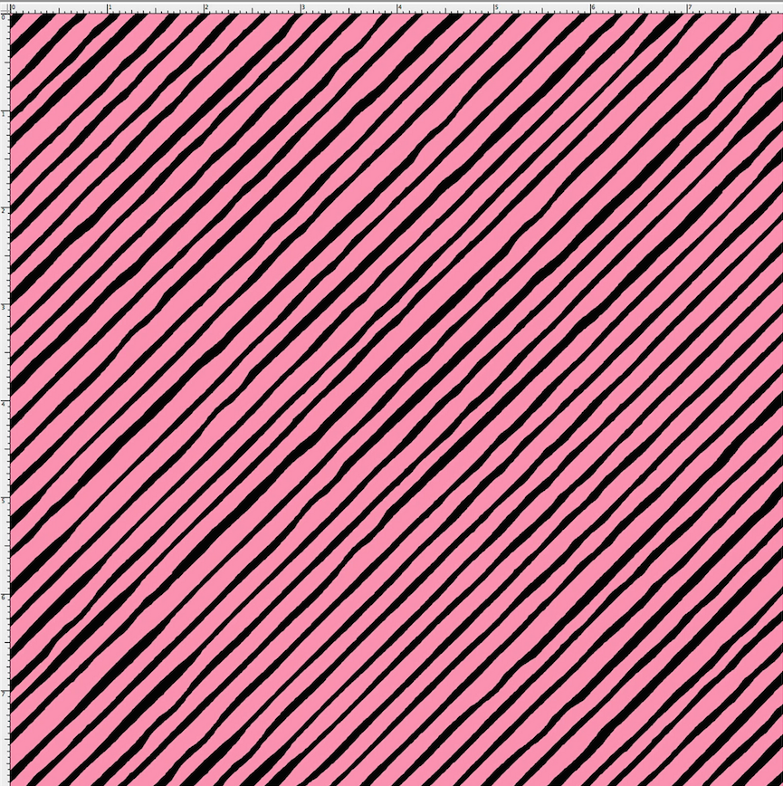 【Loralie Designs】- Sorta Stripe Bias Pink / Black Fabric (ULH-015)