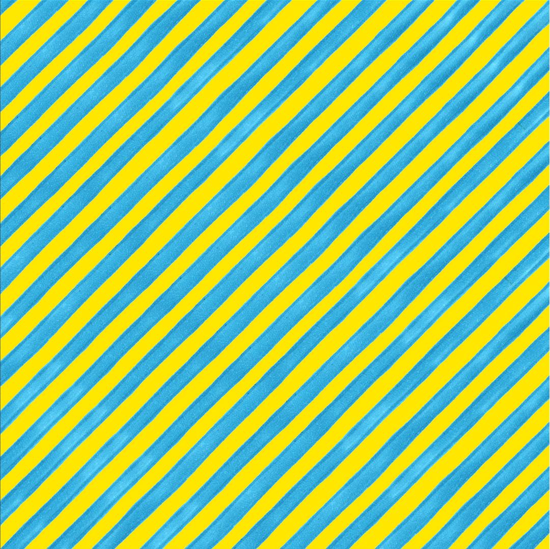 【Loralie Designs】 - Bias Stripe Bold Yellow / Turquoise Fabric- (ULH-039)