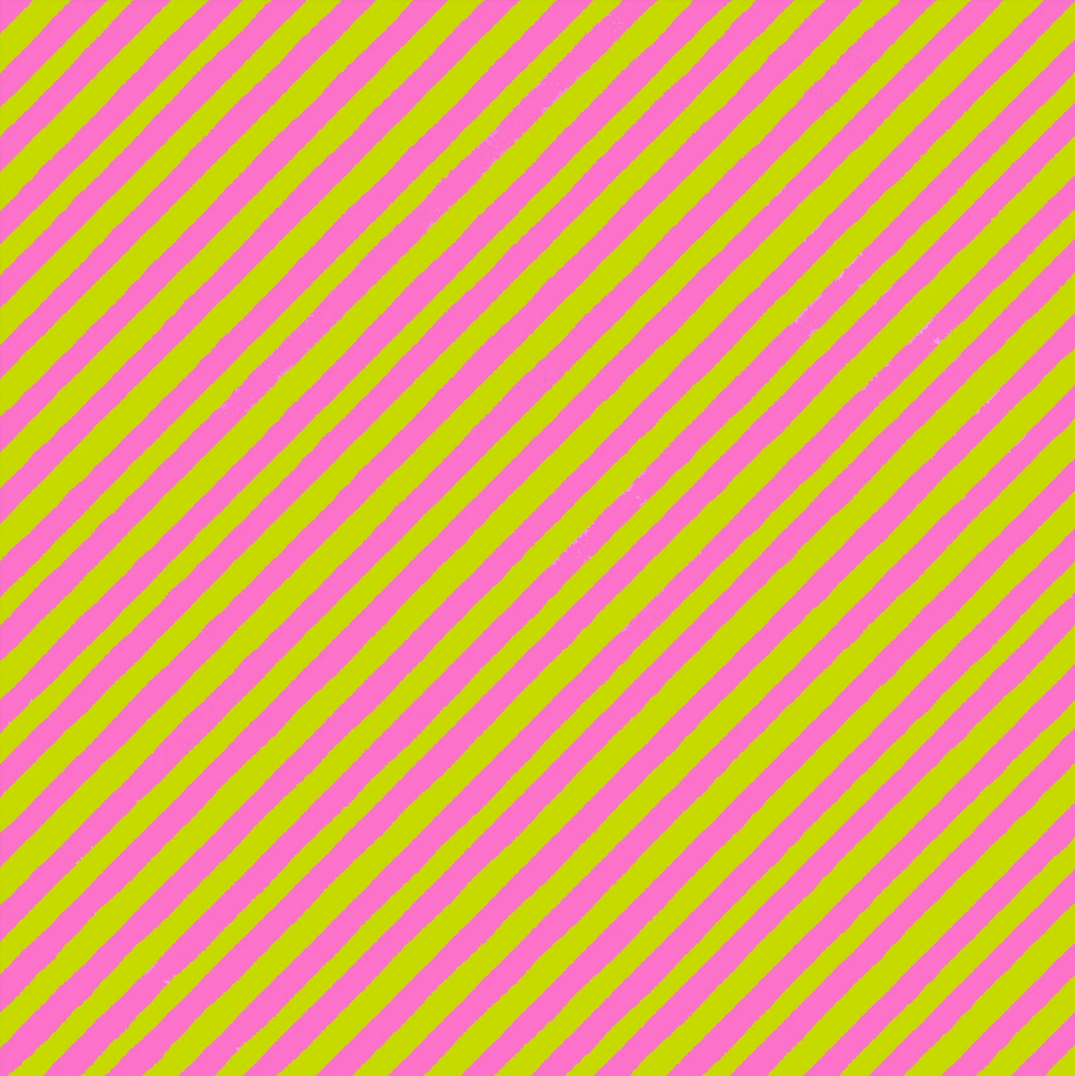 【Loralie Designs】 - Bias Stripe Bold Green / Pink Fabric- (ULH-070)