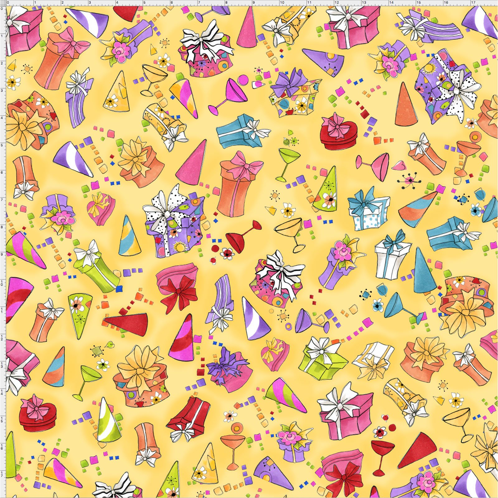 【Loralie Designs】- Party Toss Yellow Fabric  -(ULH-154)
