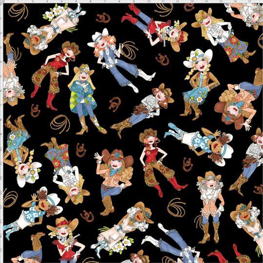 【Loralie Designs】- Tossed Cowgirls Black Fabric-(ULH-172)