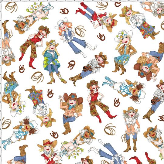 【Loralie Designs】- Tossed Cowgirls White Fabric-(ULH-173)