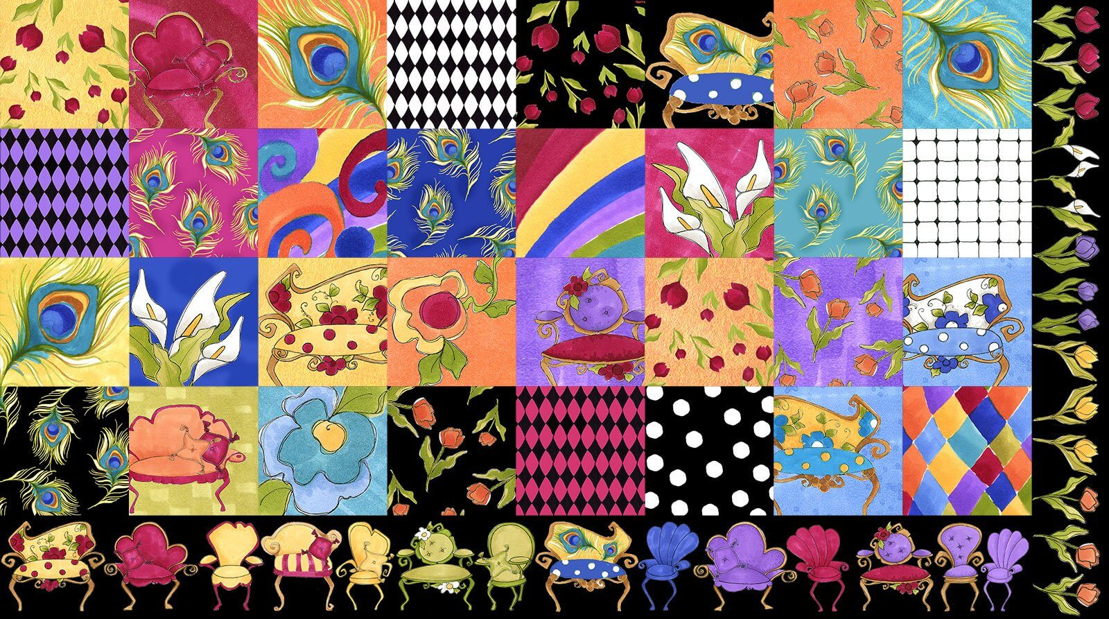 【Loralie Designs】Sitting Pretty Medley Fabric Panel(ULH-275)