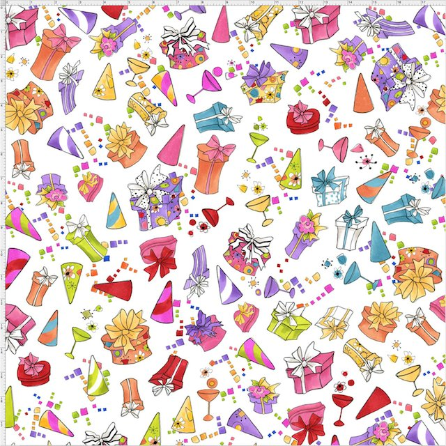 【Loralie Designs】- Party Toss White Fabric -(ULH-303)
