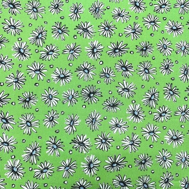 【小関鈴子先生デザインプリント】(JKS-370) オックスフォード生地 イエローグリーン 黄緑