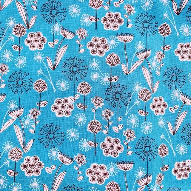 【国産生地 綿麻】 (JLN-051)ブルー系  花柄