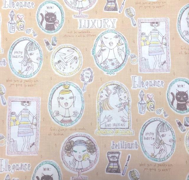 【国産デザインプリント】(JOM-004)ベージュピンク