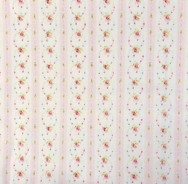 【花柄ストライプ プリント】(JOT-031) ピンク