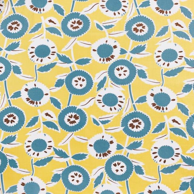 【国産デザインプリント】 JOT-185  イエロー・ブルー系  ひまわり  花柄生地