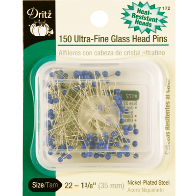 【Dritz】150 Ultra-Fine Glass Head Pins グラスヘッドピン -まち針- (NOT-097)