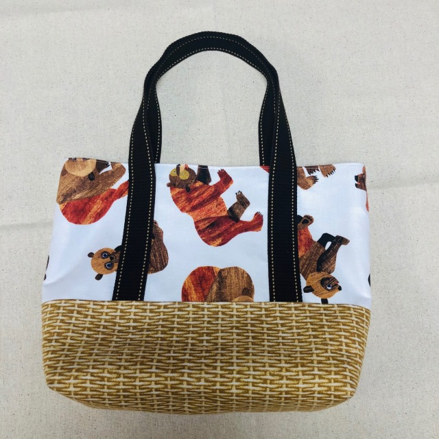 【かご柄くまさん バッグのレシピ付き】布セット  (S-012)