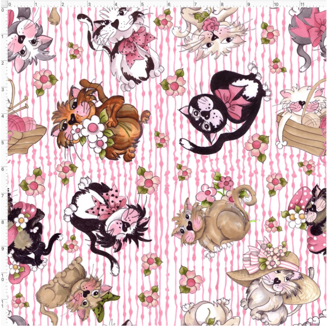 【Loralie Designs】- Tossed Fancy Cats White / Pink Fabric (ULH-012)