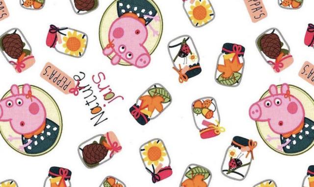 【Kidsプリント】 - Peppa Pig - ペッパピッグ (UKS-209) WHITE 50x55cm
