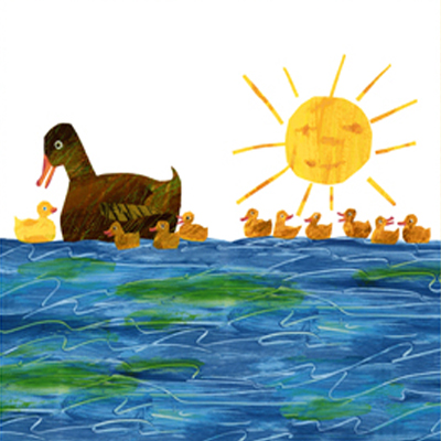【10 Little Rubber Ducks】10このちいさなおもちゃのあひる パネルプリント 60x110cm(ULD-004)
