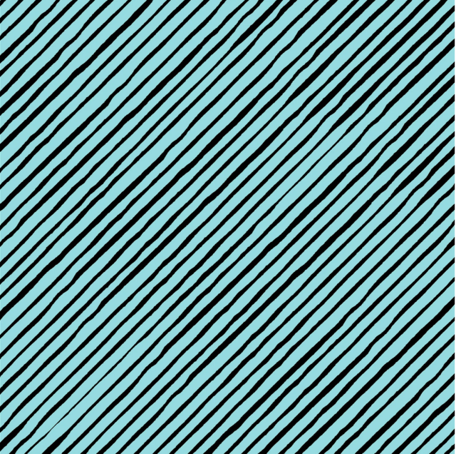 【Loralie Designs】 - Sorta Stripe Bias Turquoise / Black Fabric- (ULH-050)