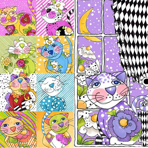 【Loralie Designs】- Calico Cats Panel - 60x110cm (ULH-113)