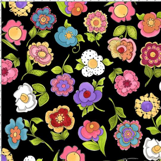 【Loralie Designs】 -Big Blossoms Black Fabric - (ULH-133)