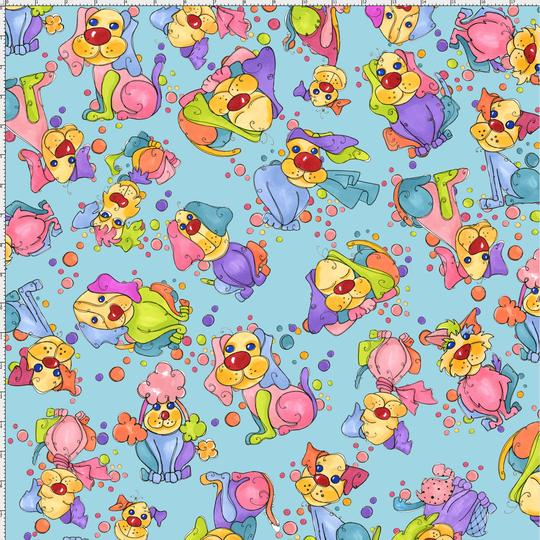 【Loralie Designs】 -Dottie Dogs Turquoise Fabric - (ULH-134)