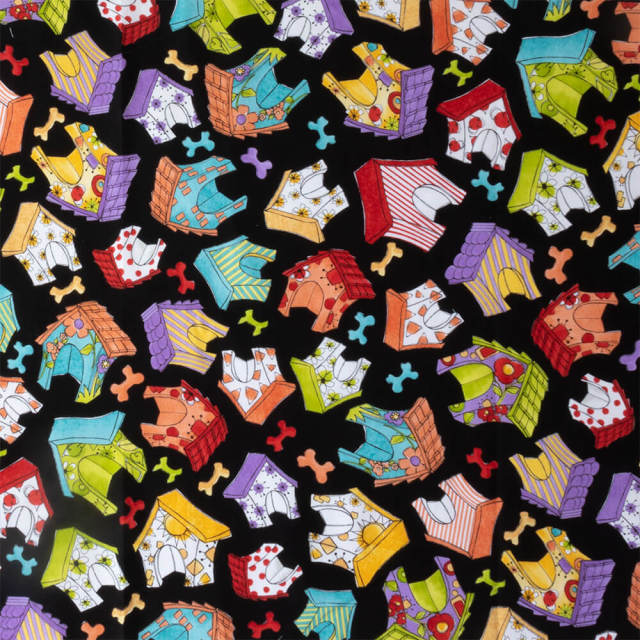 【Loralie Designs】 -Happy Houses Black Fabric- (ULH-136)
