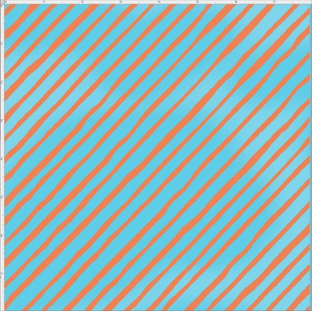 【Loralie Designs】 - Bias Stripe  Turquoise / Orange- (ULH-036)