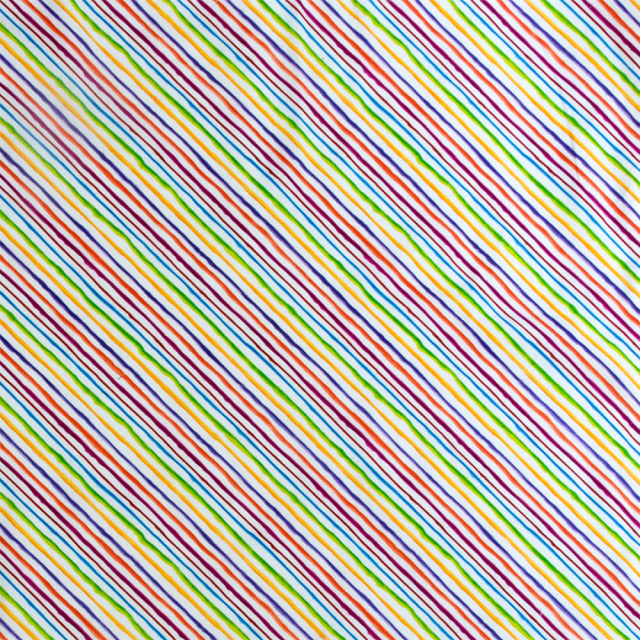 【Loralie Designs】 - Quirky Bias Stripe White Fabric - (ULH-138)
