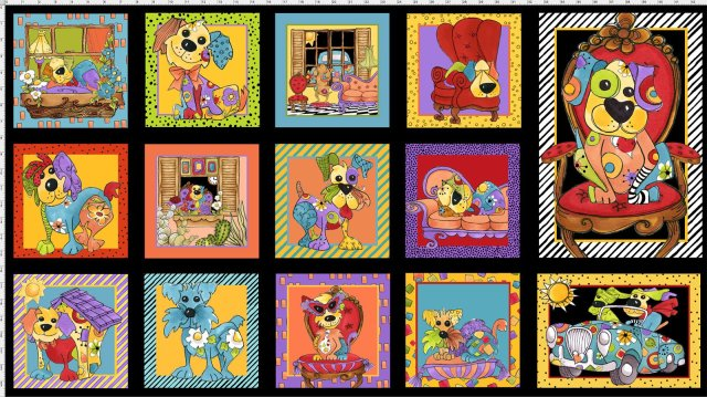 【Loralie Designs】- Joy Dog Fabric Panel- 60x110cm (ULH-147)