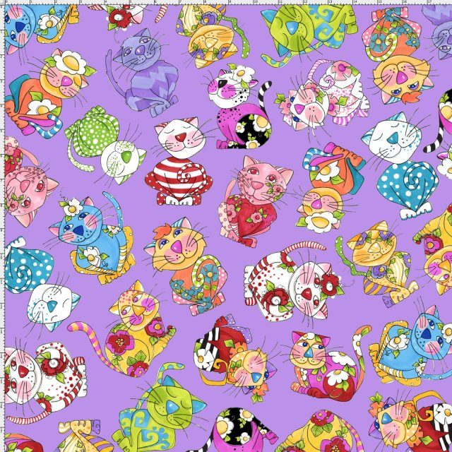 【Loralie Designs】- Calico Toss Purple Fabric -(ULH-152)
