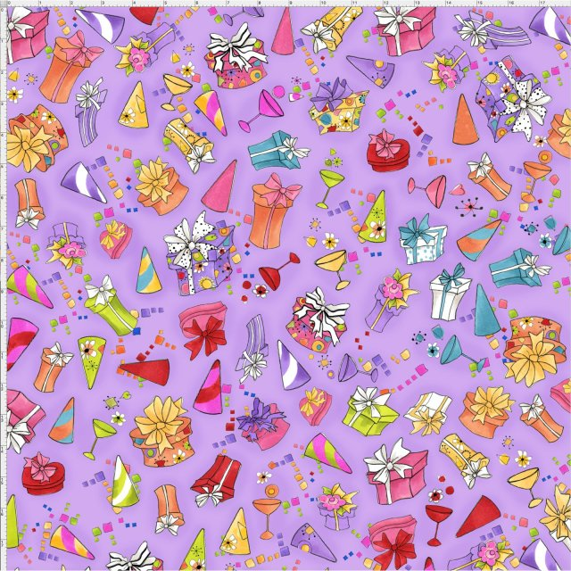 【Loralie Designs】- Party Toss Purple Fabric  -(ULH-153)