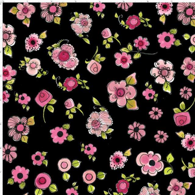 【Loralie Designs】-Parlor Posies Black Fabric  -(ULH-155)