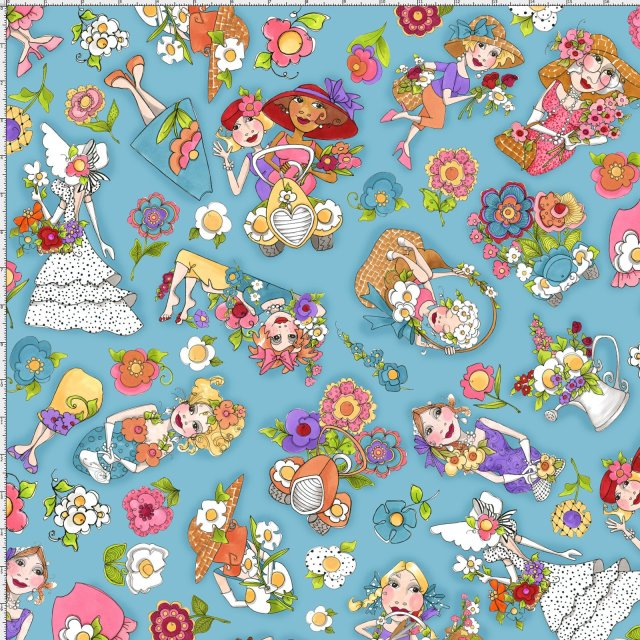 【Loralie Designs】- Blossom Tossed Turquoise Fabric -(ULH-158)
