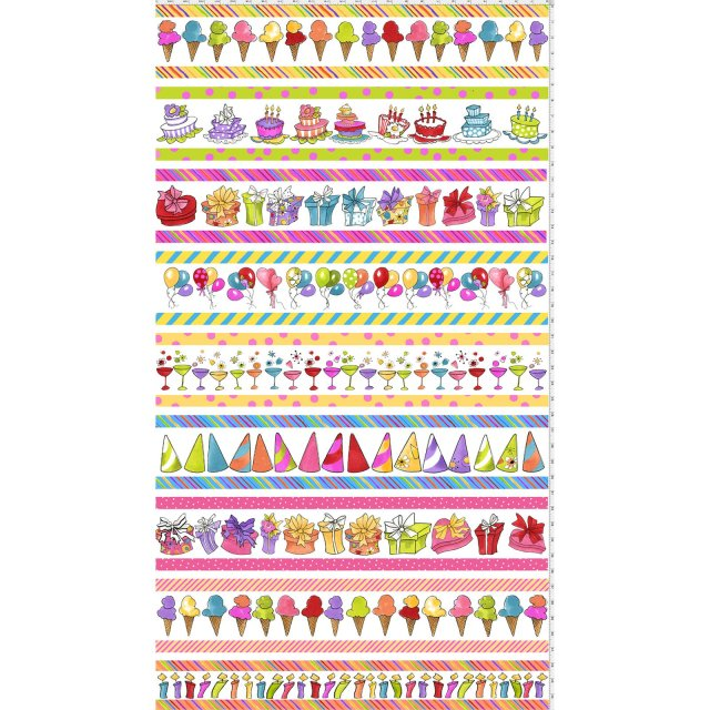 【Loralie Designs】- Party Borders White Fabric Panel -(ULH-165)