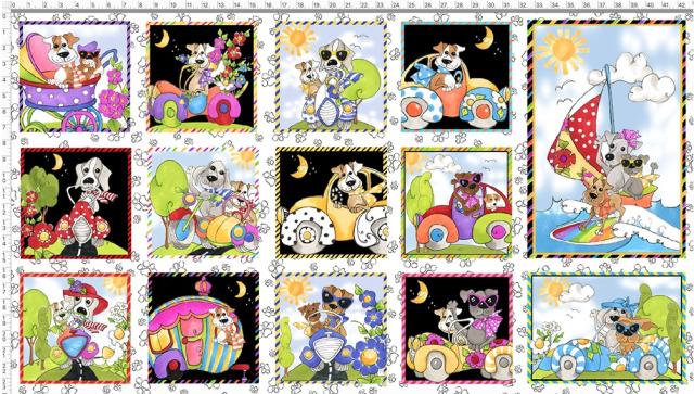 【Loralie Designs】Go Doggie White Fabric Panel (ULH-352)