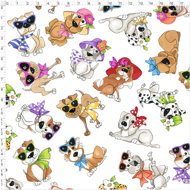 【Loralie Designs】- Tossed Go Doggies White Fabric -(ULH-355)