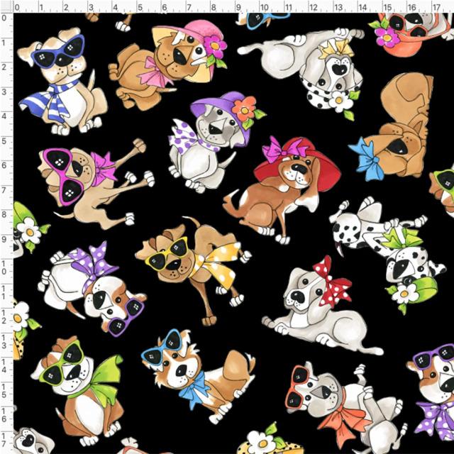 【Loralie Designs】- Tossed Go Doggies Black Fabric -(ULH-356)