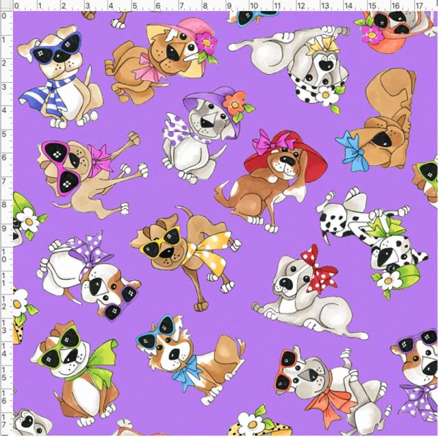【Loralie Designs】- Tossed Go Doggies Purple Fabric -(ULH-357)