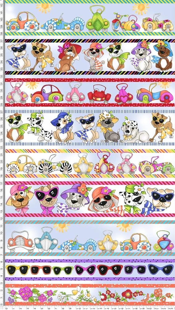 【Loralie Designs】Border Doggies Blue Sky Fabric Panel (ULH-358)