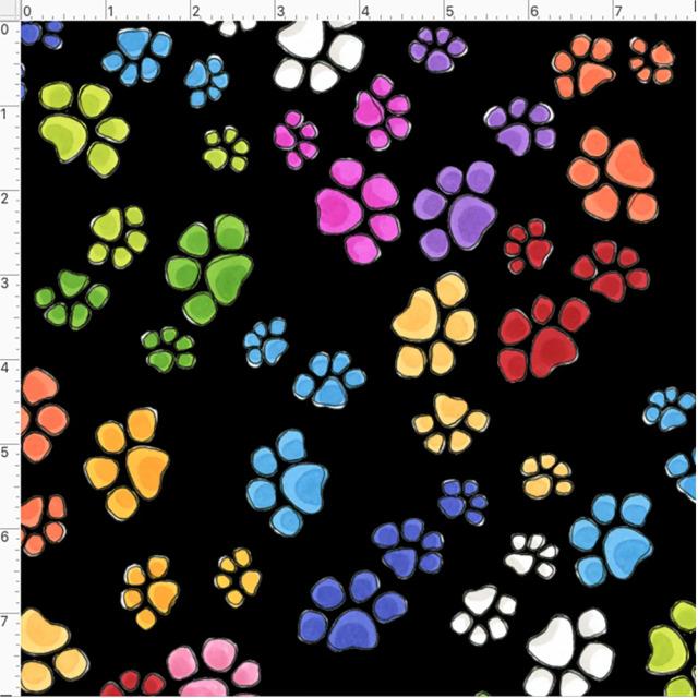 【Loralie Designs】- Go Paws Black Fabric -(ULH-361)