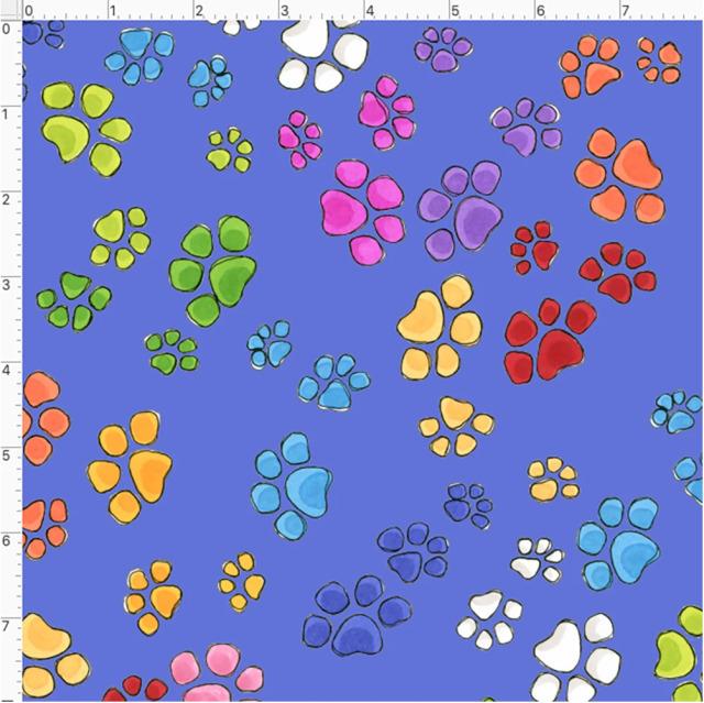 【Loralie Designs】- Go Paws Blue Fabric -(ULH-362)