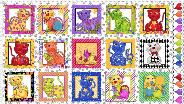 【Loralie Designs】Cat Happy White Fabric Panel (ULH-363)