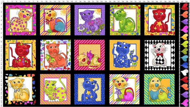 【Loralie Designs】Cat Happy Black Fabric Panel (ULH-364)