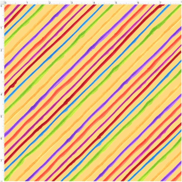 【Loralie Designs】- Quirky Bias Stripe Yellow-(ULH-370)