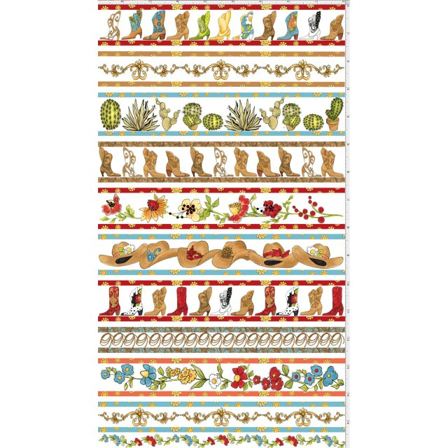 【Loralie Designs】-Whoa Borders Fabric Panel White- 60x110cm (ULH-171)