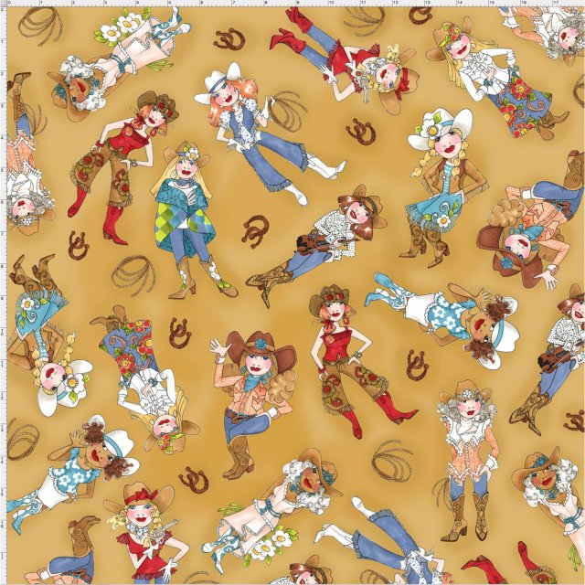 【Loralie Designs】- Tossed Cowgirls Tan Fabric-(ULH-174)