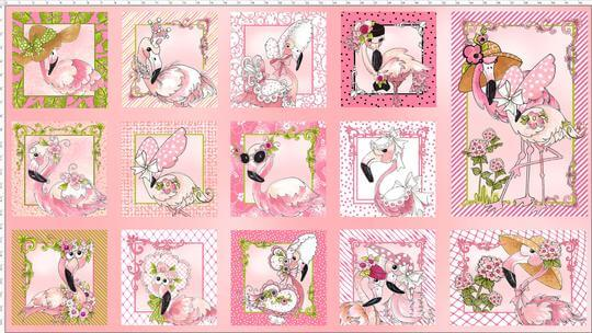 【Loralie Designs】- Flams Panel Pink Fabric Panel -(ULH-192)